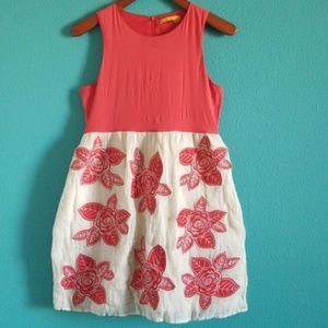 {Alice + Olivia} Red Floral Applique Belted Dress